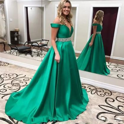 Off the Shoulder Satin Prom Dresses..