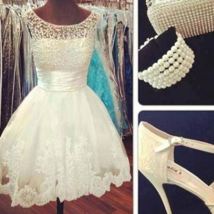 White Homecoming Dress Cap Sleeves ..