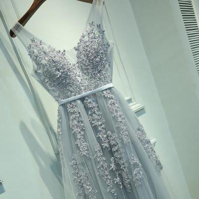 Silver Tulle and Lace Prom Dresses, Wedding Party Dresses, Graduation Party Dresses, Formal Dresses