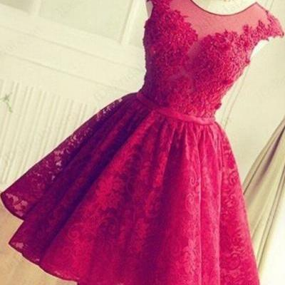 Lace Homecoming Dress Short Prom Dresses Wedding Reception Dress pst1358