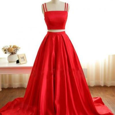 Red Prom Dress Two Pieces, Prom Dresses For Teens,Graduation Party Dresses, Sweet 16 Dresses