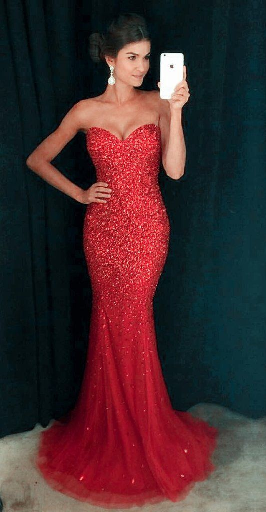 328f6aefe185 Red Mermaid Prom Dresses