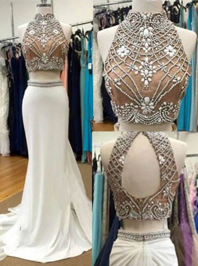 Two Piece Beaded Prom Dresses, Formal Dresses, Graduation Party ...