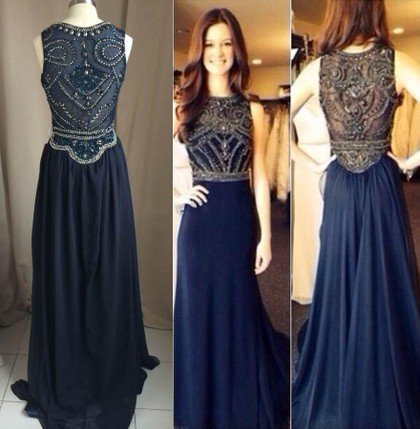 Navy Blue Beaded Prom Dresses, Formal Dresses, Graduation Party ...