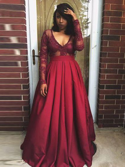 Prom Dresses Long Sleeves, Prom Dress, Evening Dresses, Formal Dresses,  Graduation Party Dresses, Banquet Gown
