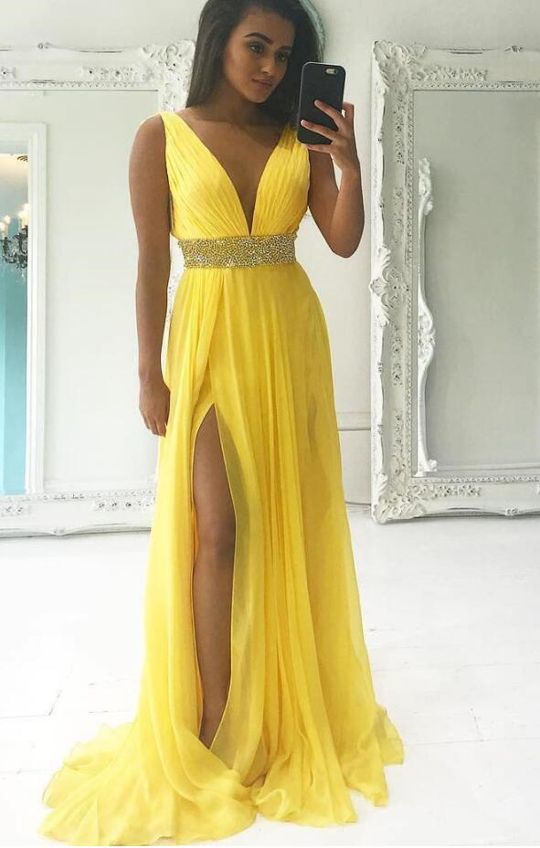 Yellow Prom Dress, Sweet 16 Dress, Evening Dresses, Pageant Dresses, Graduation Party Dresses, Banquet Gown