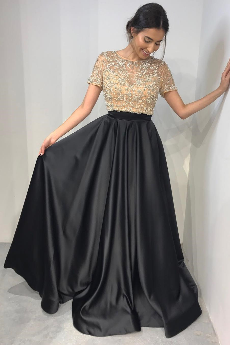 Two Pieces Black Prom Dress With Short Sleeves, Sweet 16 Dress ...
