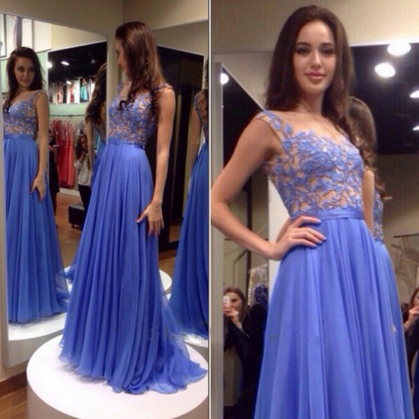 Light Blue Dress For Prom Evening Party pst0445