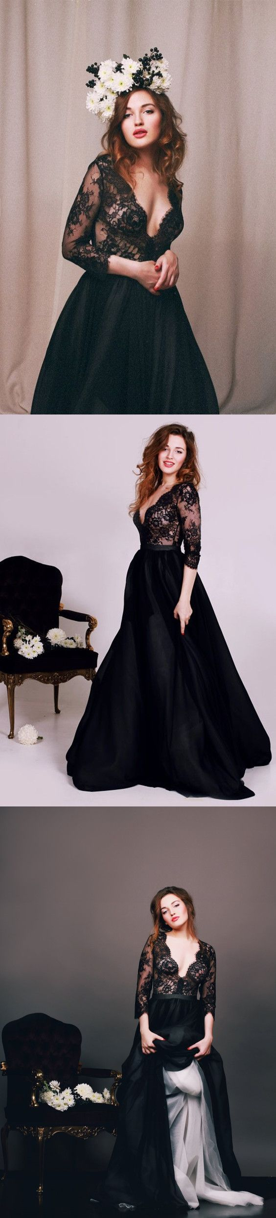 Black Lace Prom Dresses Wedding Party Dresses Banquet Gowns ...