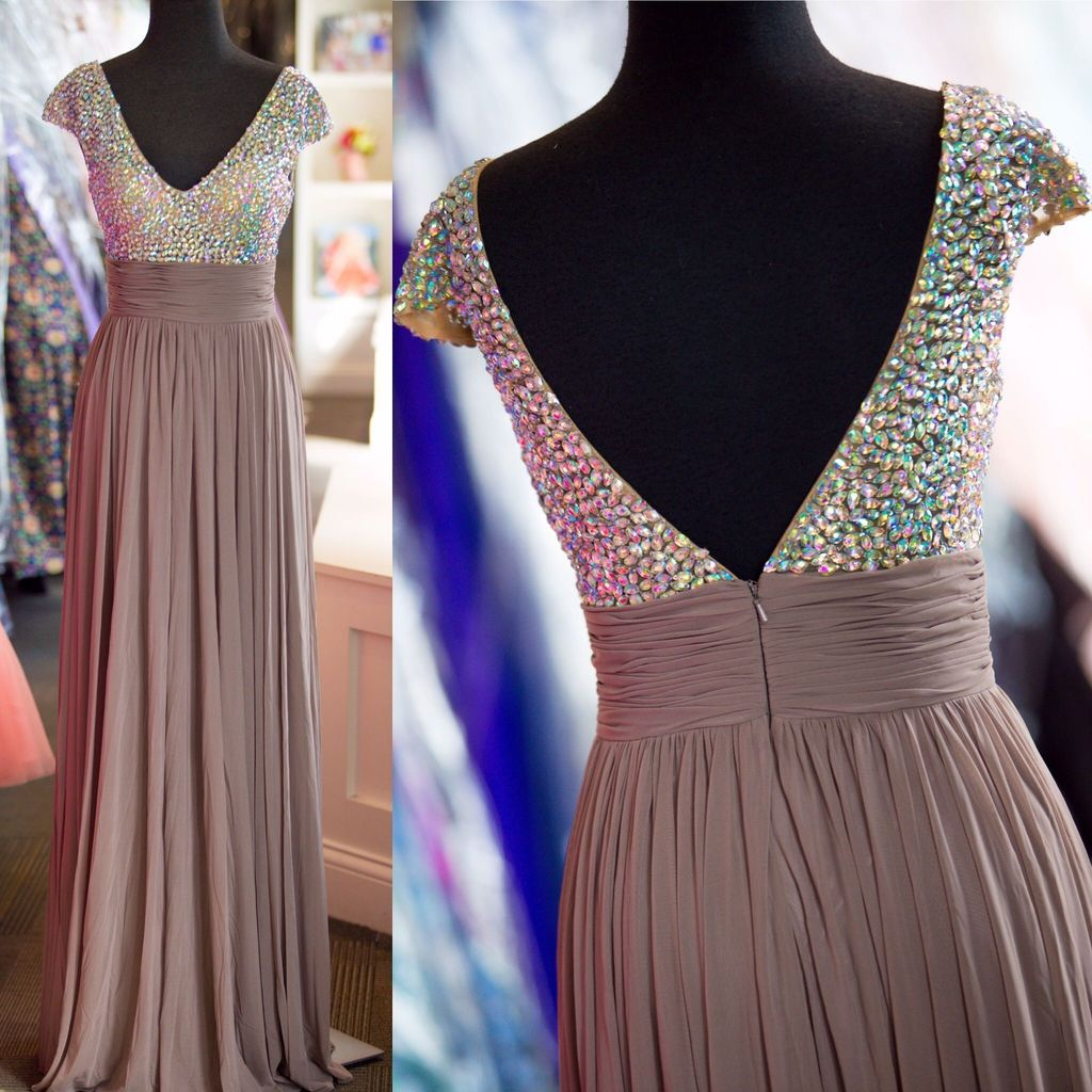 Beaded Chiffon Prom Dresses Wedding Party Dresses Formal Dresses Sweet 16 Dresses Banquet Dresses with Cap Sleeves