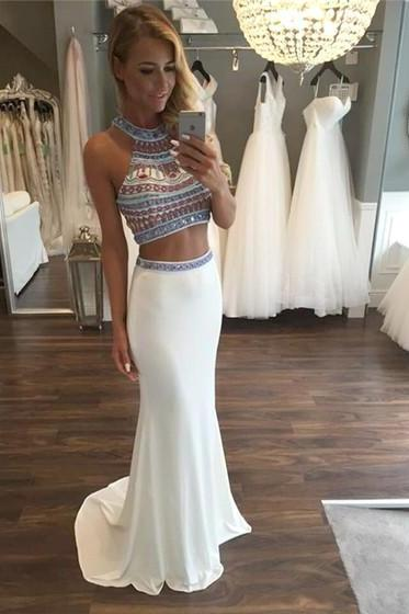 Two Piece Beaded Prom Dresses, Formal Dresses, Graduation Party Dresses, Banquet Gowns,Sweet 16 Dresses
