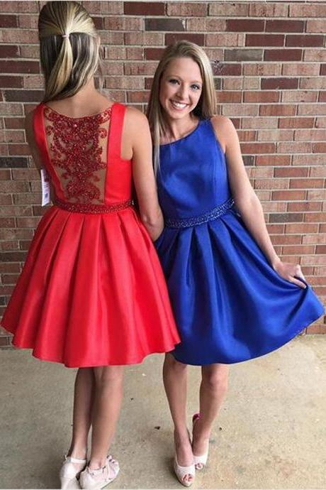 Custom Made Satin Short A-Line Homecoming Dress with Open Back Lace Applique Adorned With Rhinestones, Mismatched Bridesmaid Dress