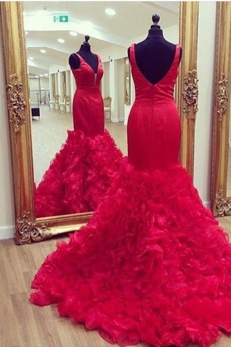 Mermaid Red Prom Dresses, Formal Dresses, Graduation Party Dresses, Banquet Gowns