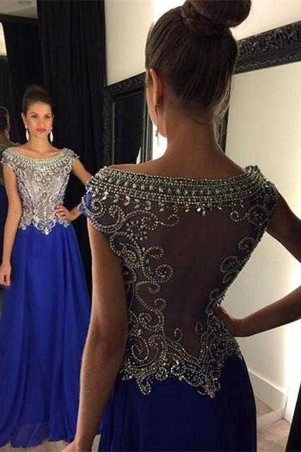 Royal Blue Beaded Prom Dresses, Formal Dresses, Graduation Party Dresses, Banquet Gowns