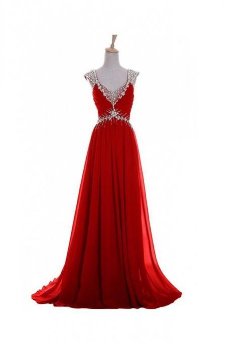 Red Chiffon Prom Dresses, Evening Dresses, Formal Dresses, Graduation Party Dresses, Banquet Gown