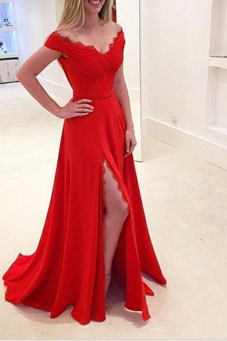 Red Prom Dresses With Slit, Prom Dress, Evening Dresses, Formal Dresses, Graduation Party Dresses, Banquet Gown