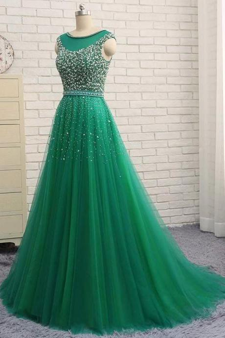 Green Sleeveless Beaded A-line Long Prom Dress, Evening Dress, Formal Gown