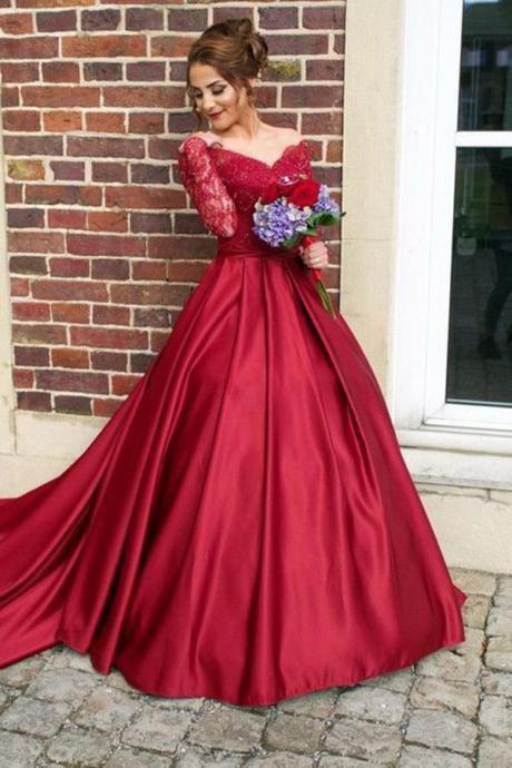 Prom Dresses 2018 Long Sleeves, Prom Dress, Evening Dresses, Formal Dresses, Graduation Party Dresses, Banquet Gown
