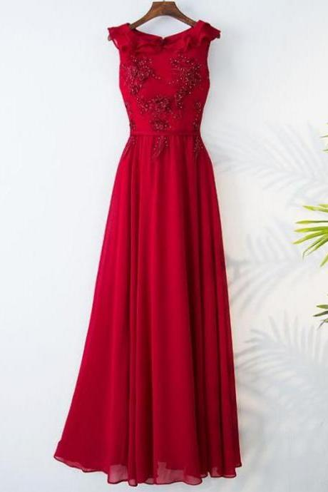 Red Sleeveless Beaded Lace Appliques A-line Floor-Length Prom Dress, Evening Dress, Formal Dress