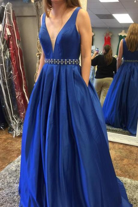 New Style Blue Neckline Prom Dresses, Prom Dress, Evening Dresses, Formal Dresses, Graduation Party Dresses, Banquet Gown