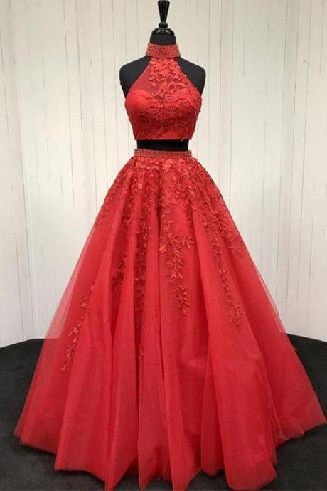 Two Pieces Prom Dresses, Prom Dress, Evening Dresses, Formal Dresses, Graduation Party Dresses, Banquet Gown