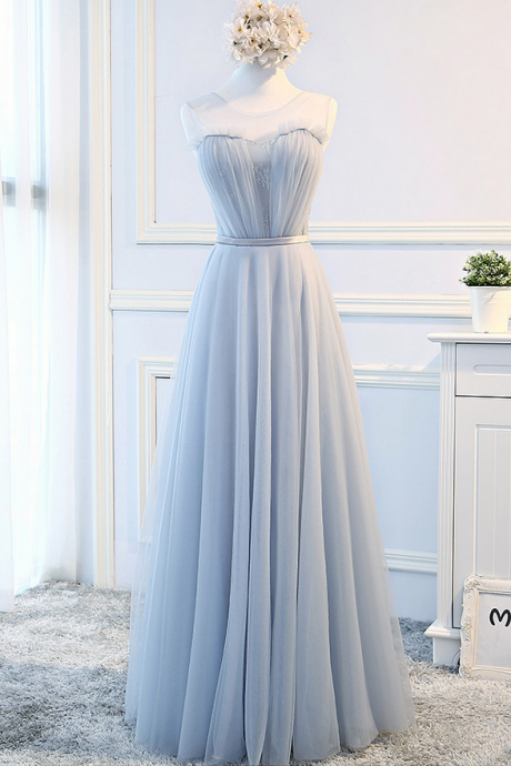 Sleeveless Sheer Lace Appliqués Ruched Floor-length A-line Prom Dress, Evening Dress