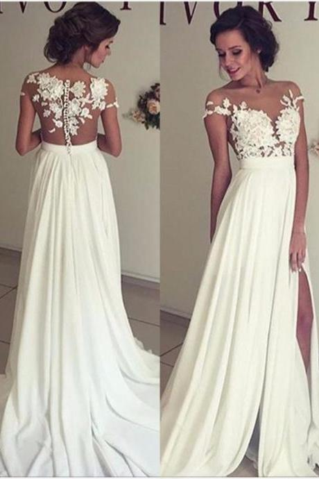 Simple Ivory Chiffon Wedding Dress, Prom Dress, Sweet 16 Dress, Evening Dresses, Pageant Dresses, Graduation Party Dresses, Banquet Gown