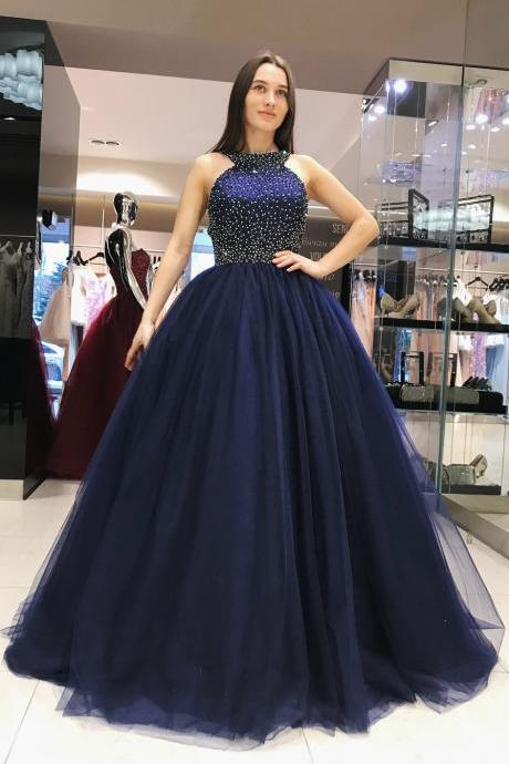 Navy Blue Princess Prom Dress, Sweet 16 Dress, Evening Dresses, Pageant Dresses, Graduation Party Dresses, Banquet Gown
