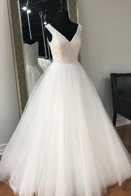 White Wedding dress, Prom Dress, Sweet 16 Dress, Evening Dresses, Pageant Dresses, Graduation Party Dresses, Banquet Gown