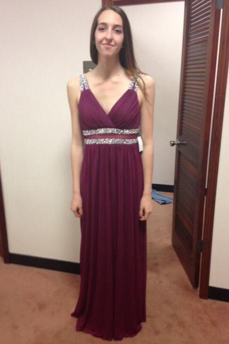 Long Prom Dress With V Neckline Evening Party Dresses pst0760