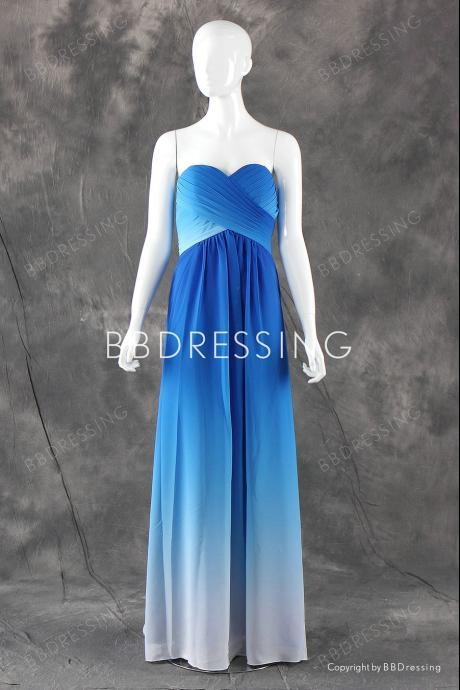 Gradient Sweetheart Chiffon Bridesmaid Dresses Floor Length BB0002 from BBDressing