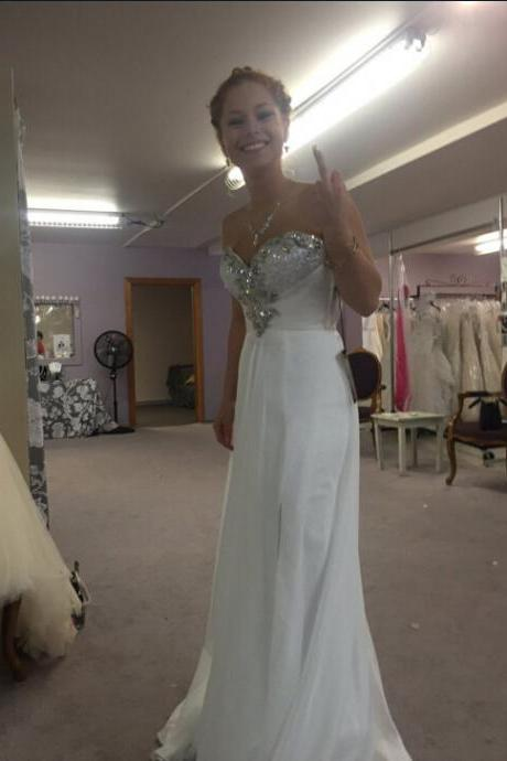 White Prom Dress Evening Party Dress pst0677