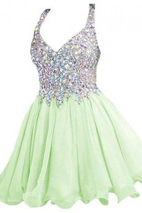 Short Prom Dress Homecoming Dresses Beaded Top pst0673