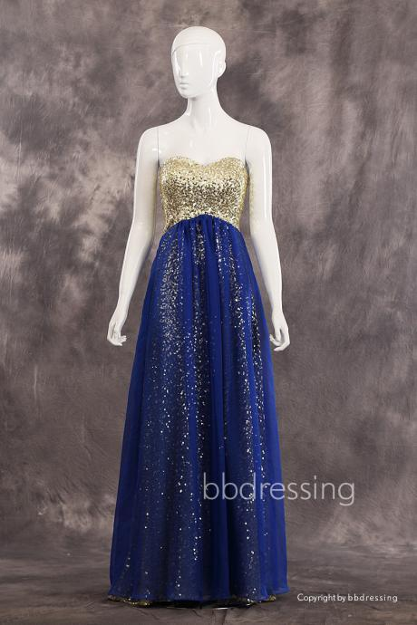 BBDressing Sparkling Sweetheart Neckline Strapless Gold Sequin Chiffon Evening Dresses Floor Length Zipper Up Back Style bb0035