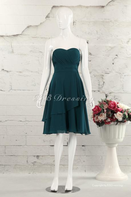 BBDressing Sweetheart Knee Length Chiffon Bridesmaid Dresses With Asymmetrical Skirt Hem bb0030