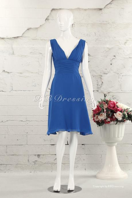 BBDressing Knee Length V-Neck Chiffon Bridesmaid Dress with Pleated Waist Detail bb0029