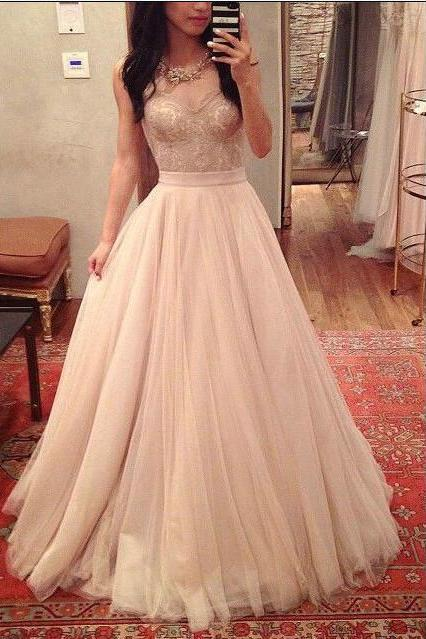 Strapless Sweetheart Lace A-line Tulle Floor-Length Prom Dress, Evening Dress