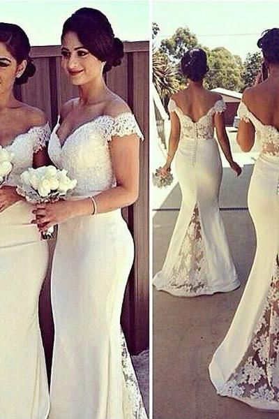 Off Shoulder Lace Bridesmaid Dresses pst0328