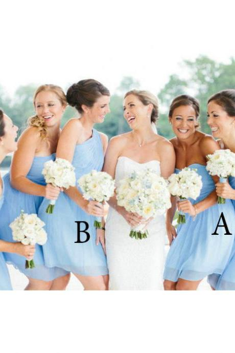Mismatched Sky Blue Bridesmaid Dresses Floor Length pst0327