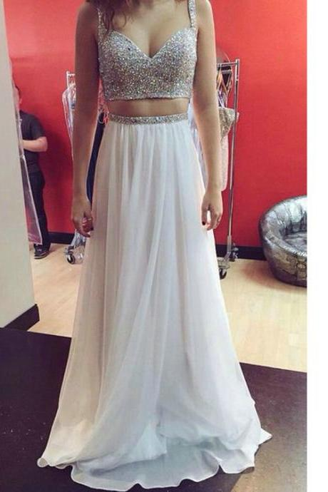 Two Piece Beads Prom Dresses pst0314