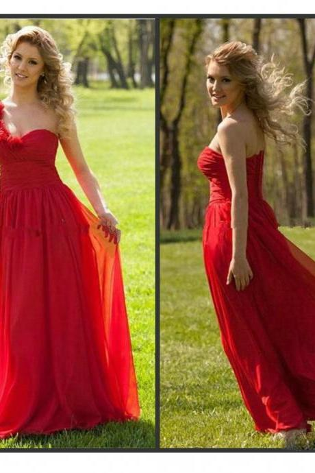 One Shoulder Chiffon Bridesmaid Dresses Handmade Flowers pst0311