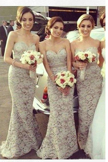 Lace Bridesmaid Dresses Floor Length pst0305