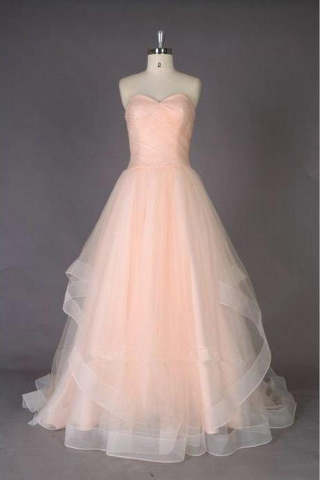 Soft Pink Floor Length Organza Prom Gowns Evening Dresses pst0205