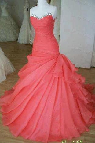 Watermelon Red Organza Graduation Party Dresses Prom Gowns pst0200
