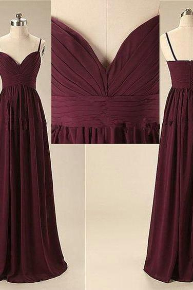 Grape Chiffon Prom Dresses Spagetti Straps pst0194