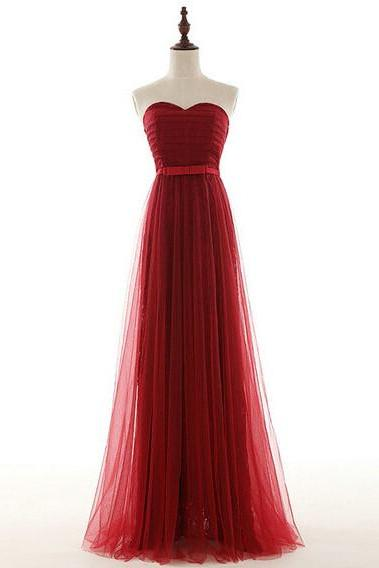 Red Strapless Sweetheart Tulle Long Prom Dress with Lace Up Back