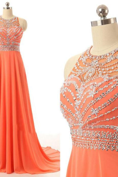 Prom Dresses Long for Teens Orange Chiffon Beads Bodice pst0169
