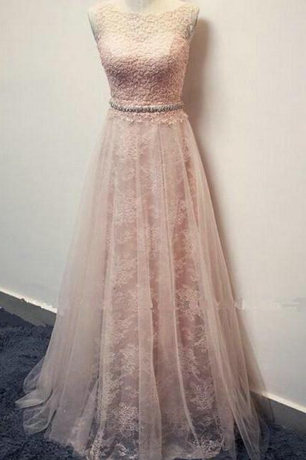 Pearl Pink Lace and Tulle Prom Dresses Evening Dresses Size 4 pst0168
