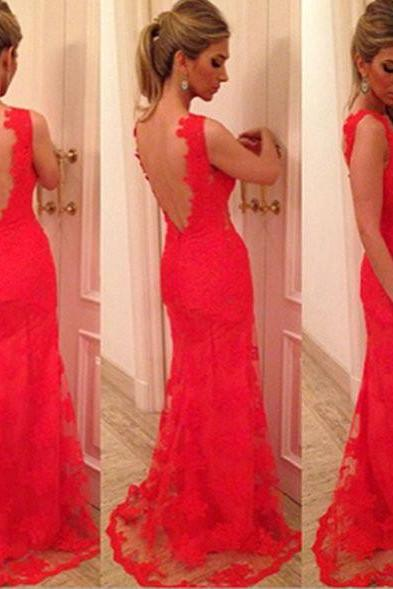 Red Lace Prom Dresses Open Back pst0167