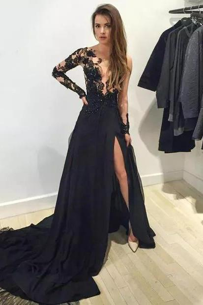 2016 Black Tulle and Lace Celebrity Evening Dresses Prom Gowns pst0143